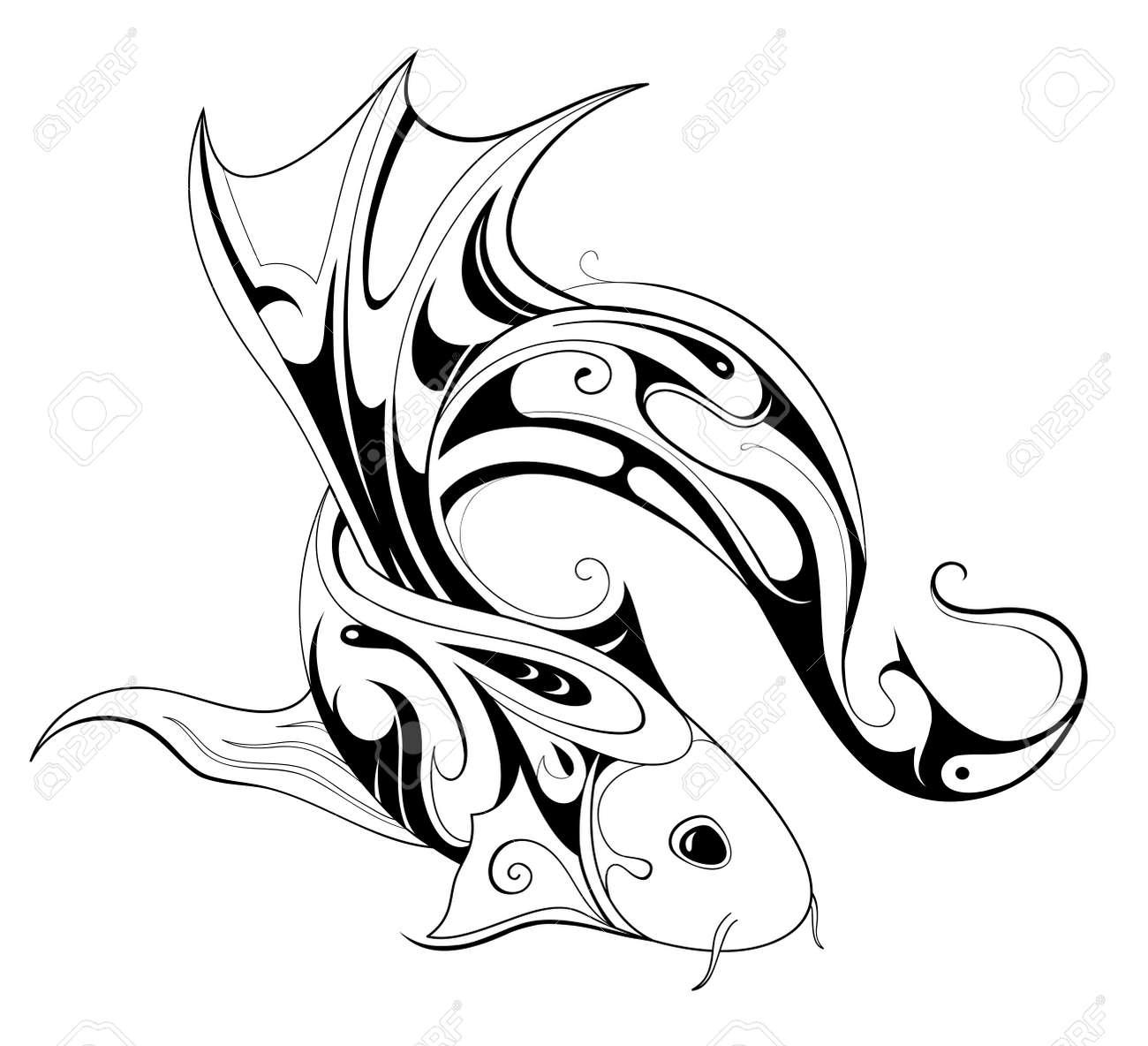 Berühmt Conception De Tatouage Poisson Isolé Sur Blanc Clip Art Libres De  DS57
