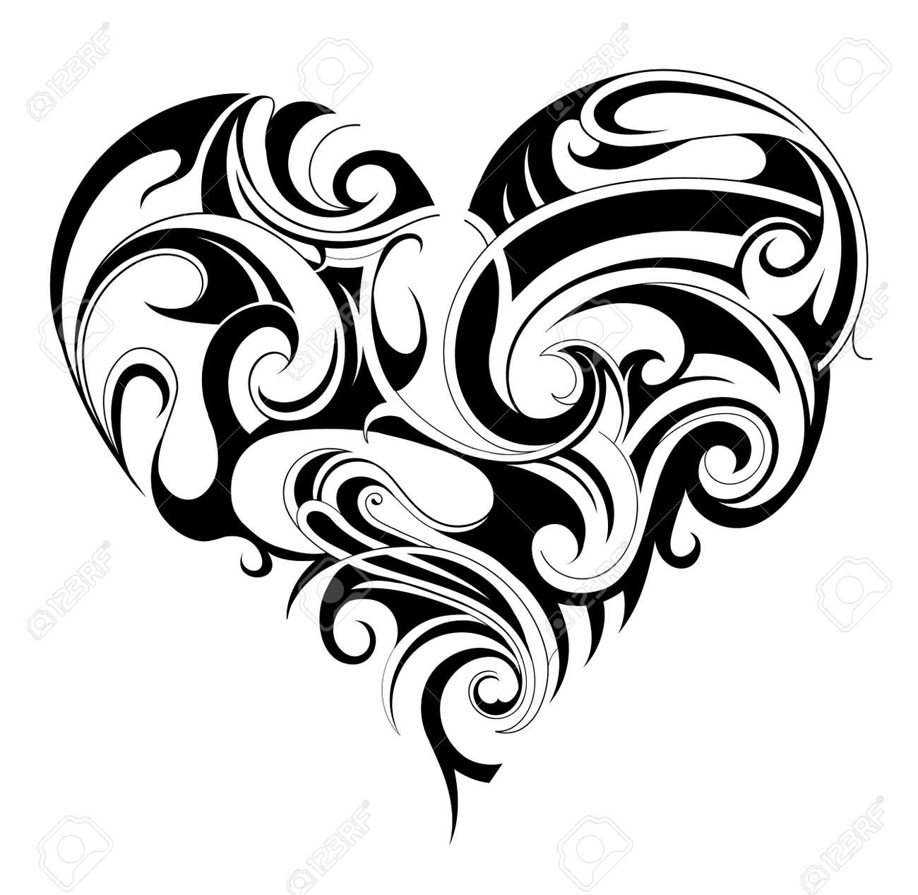 Heart shape tattoo ornament isolated on white - 36274774
