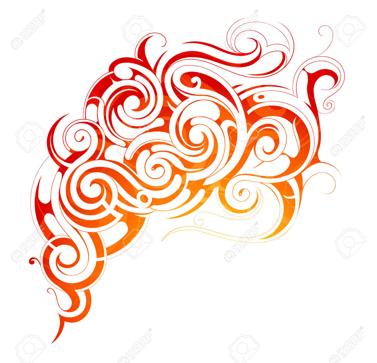 Vector illustration with fire flames and smoke ornament - 39713333