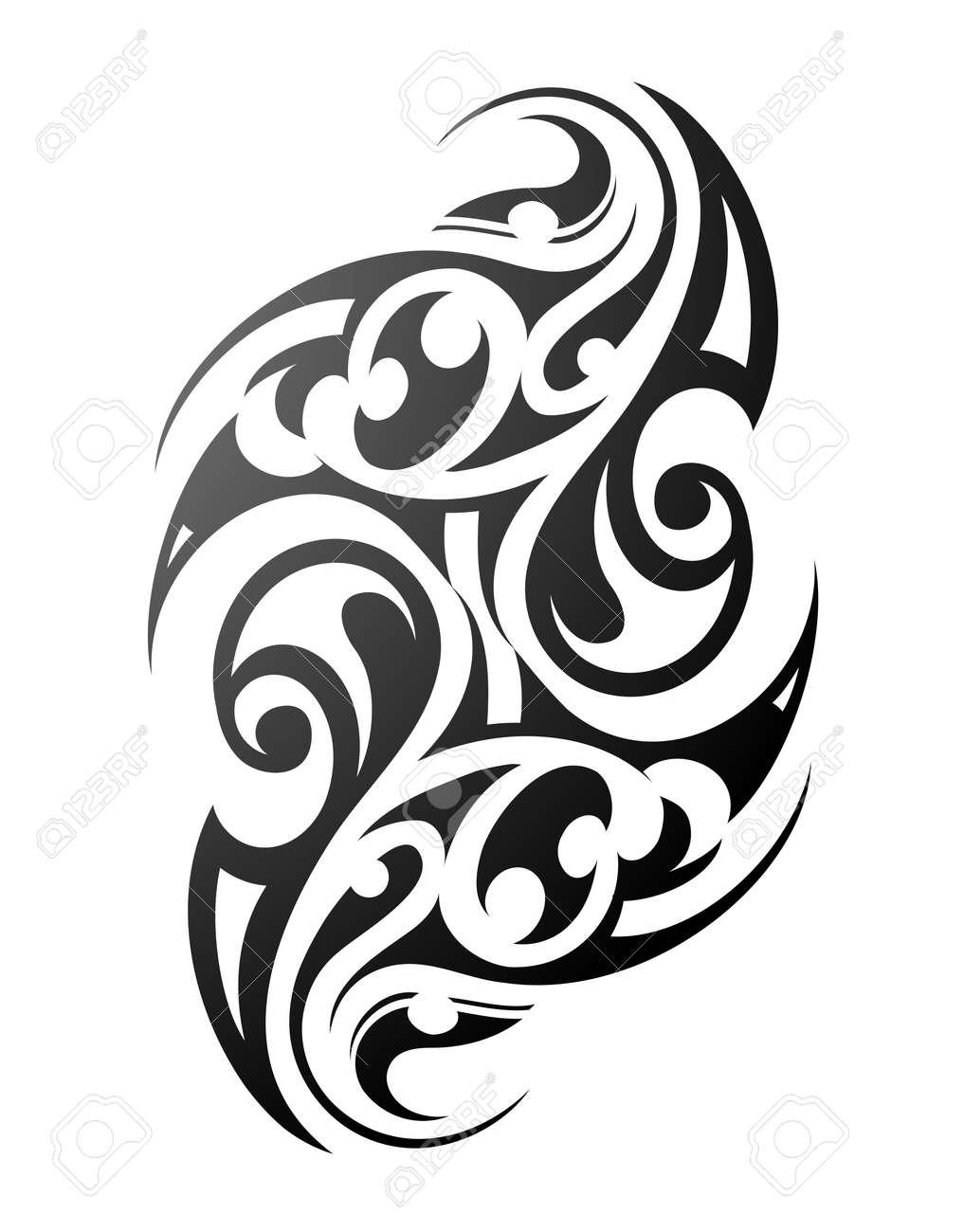 Tatouage Maori Ornement Ethnique Avec Des Motifs Traditionnels