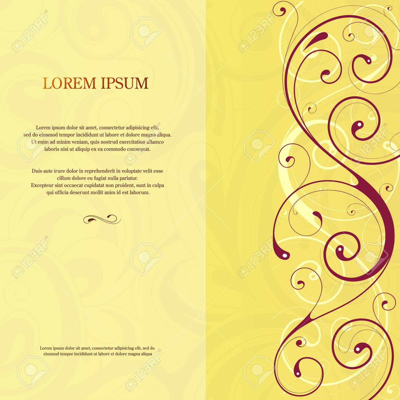 Invitation Card Template Design With Decorative Side Ornament