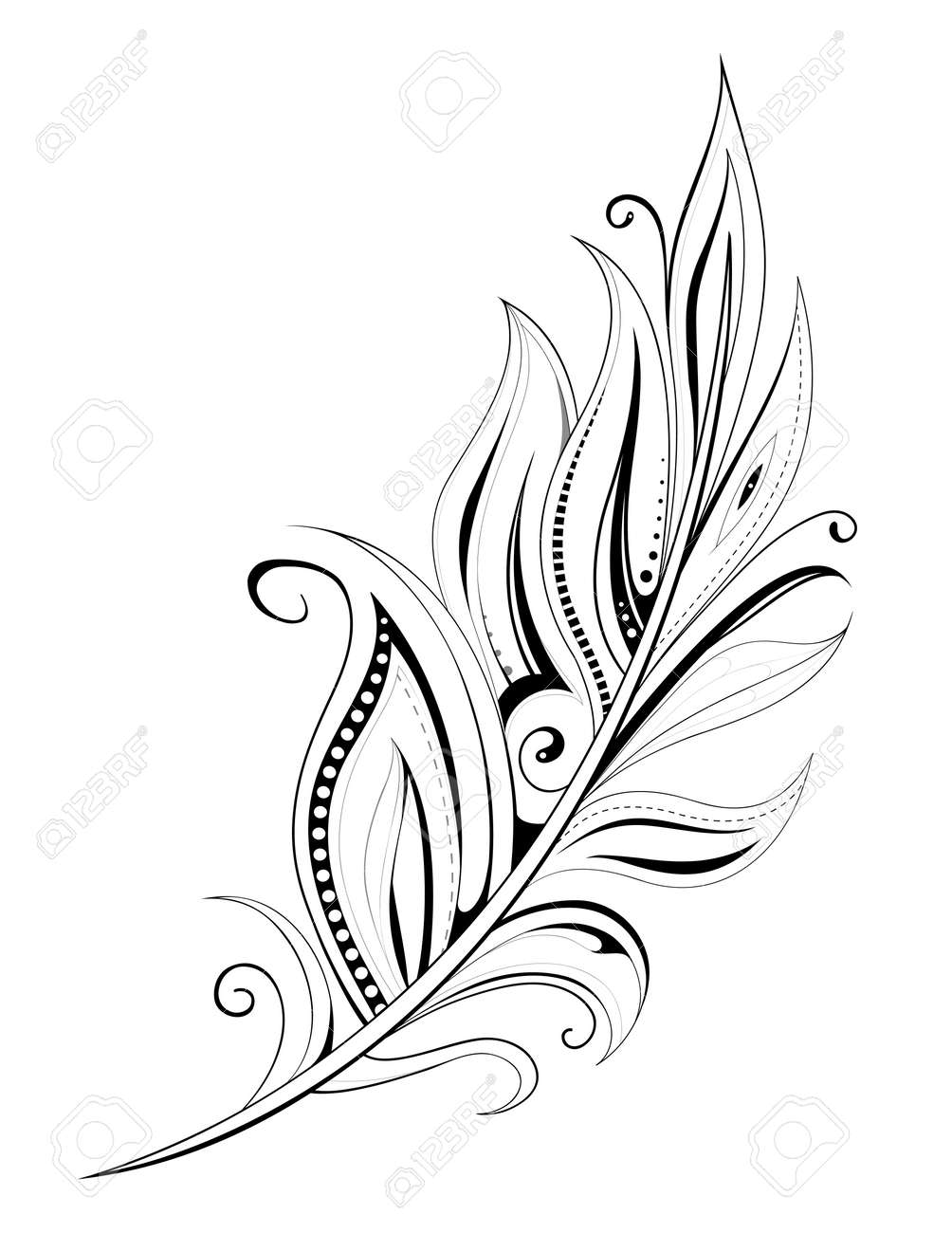 Feather tattoo with ethnic elements isolated on white - 44383137