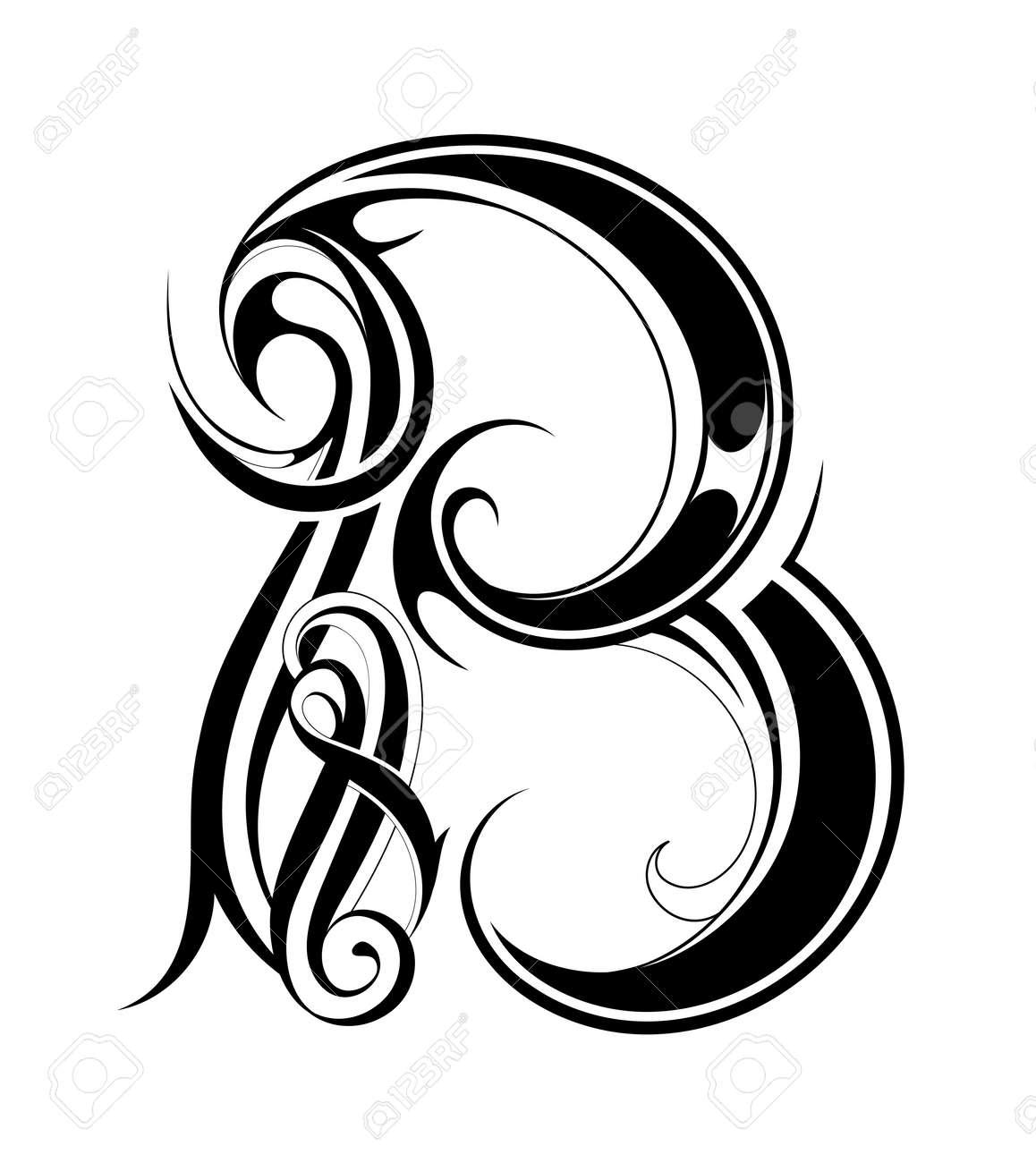 Dekorative Brief Form Isoliert Auf Weiß Font B Lizenzfrei Nutzbare
