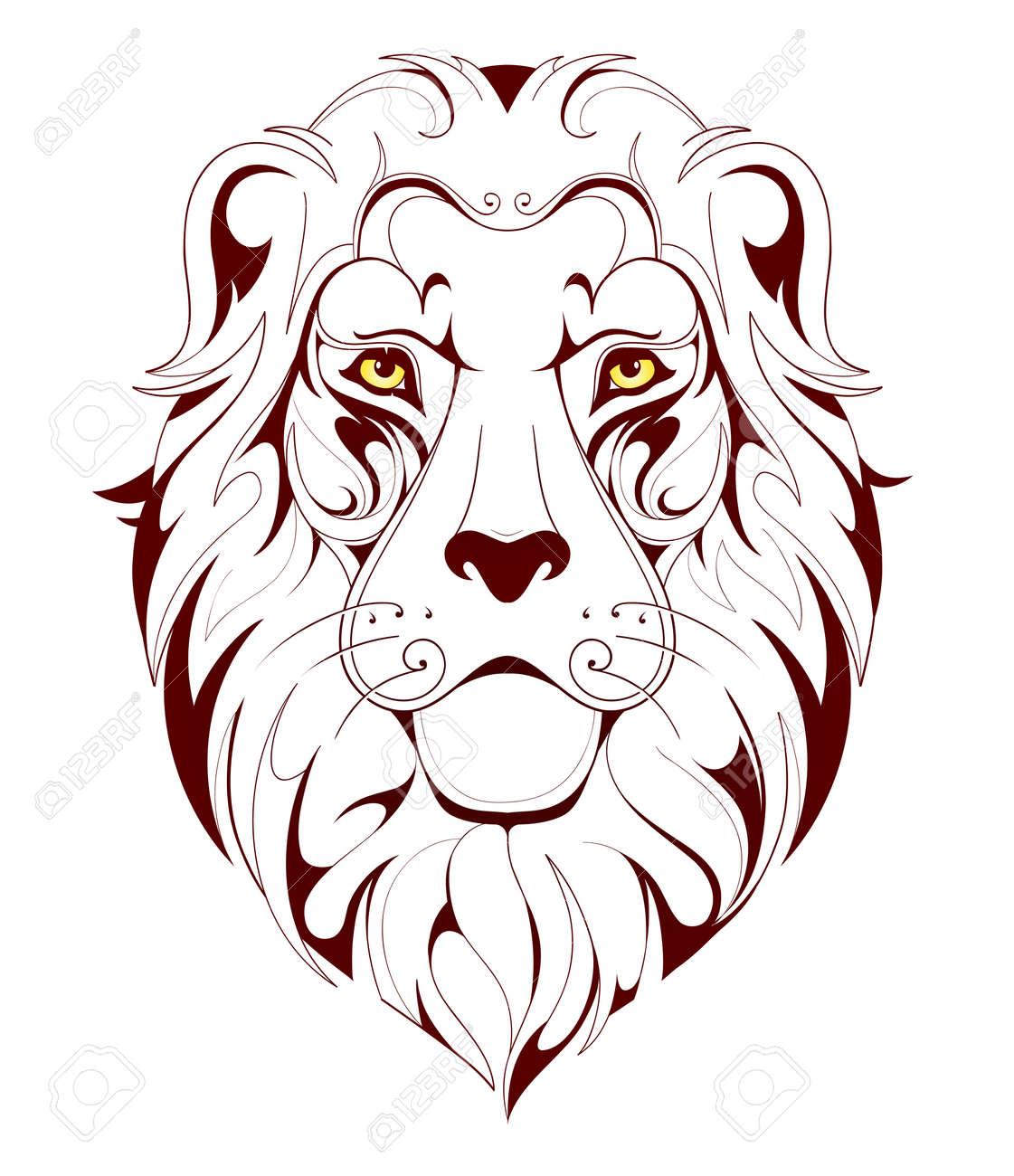 Vector illustration for lion head linear tattoo - 47262258