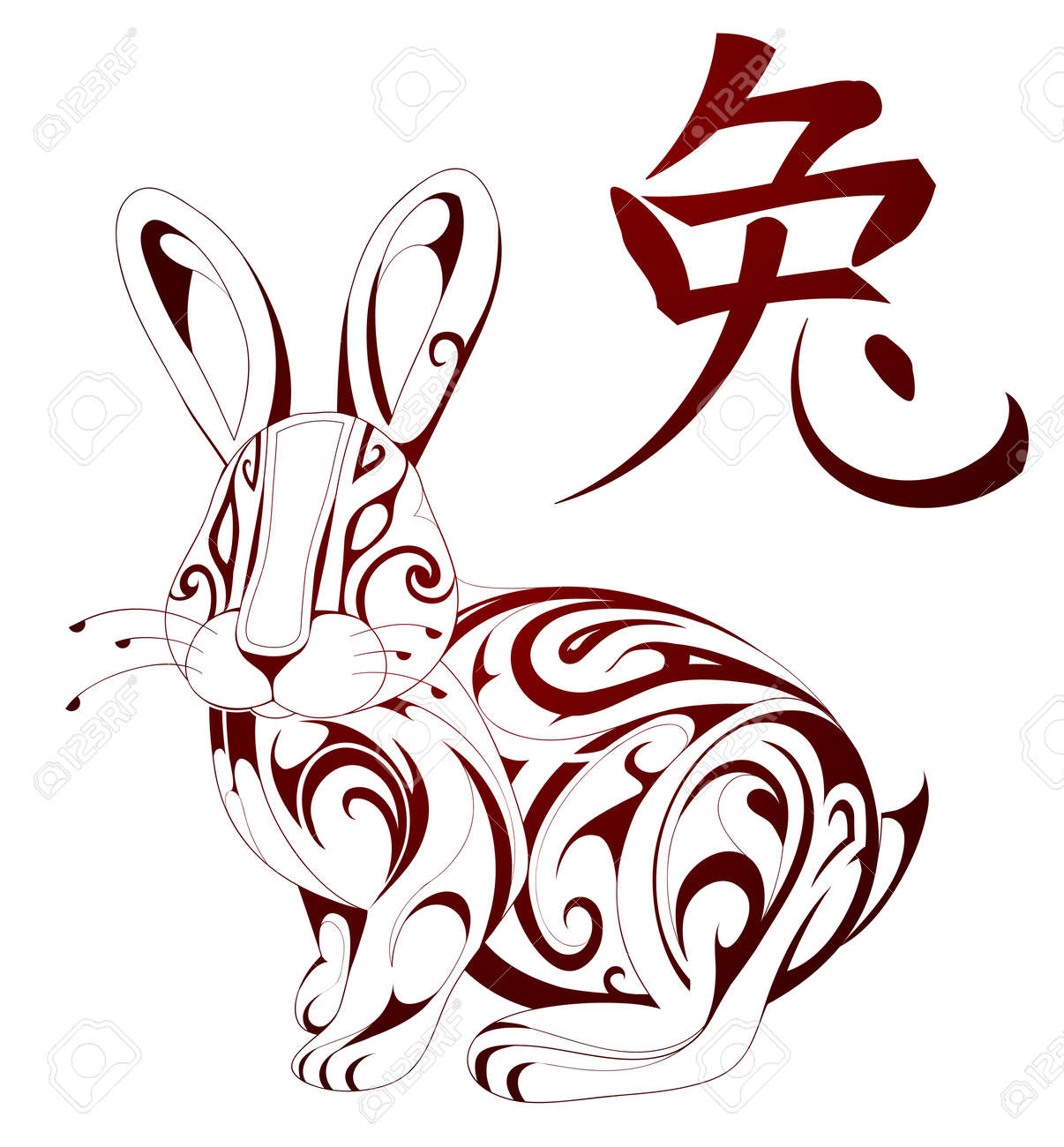 Ornamental rabbit figure as Chinese zodiac sign