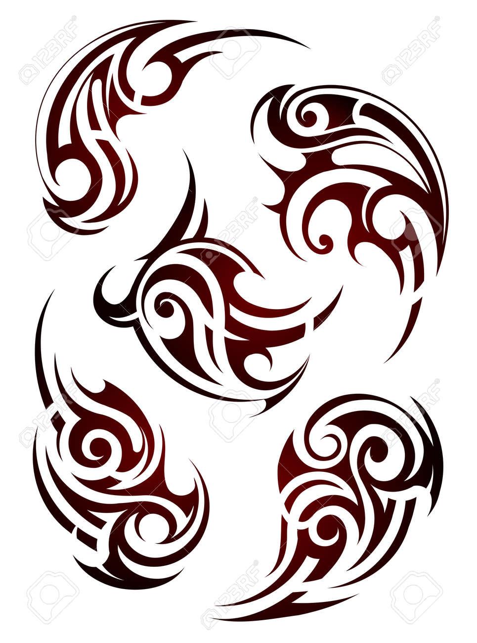 Set of Maori ethnic style tattoo shapes - 54539987