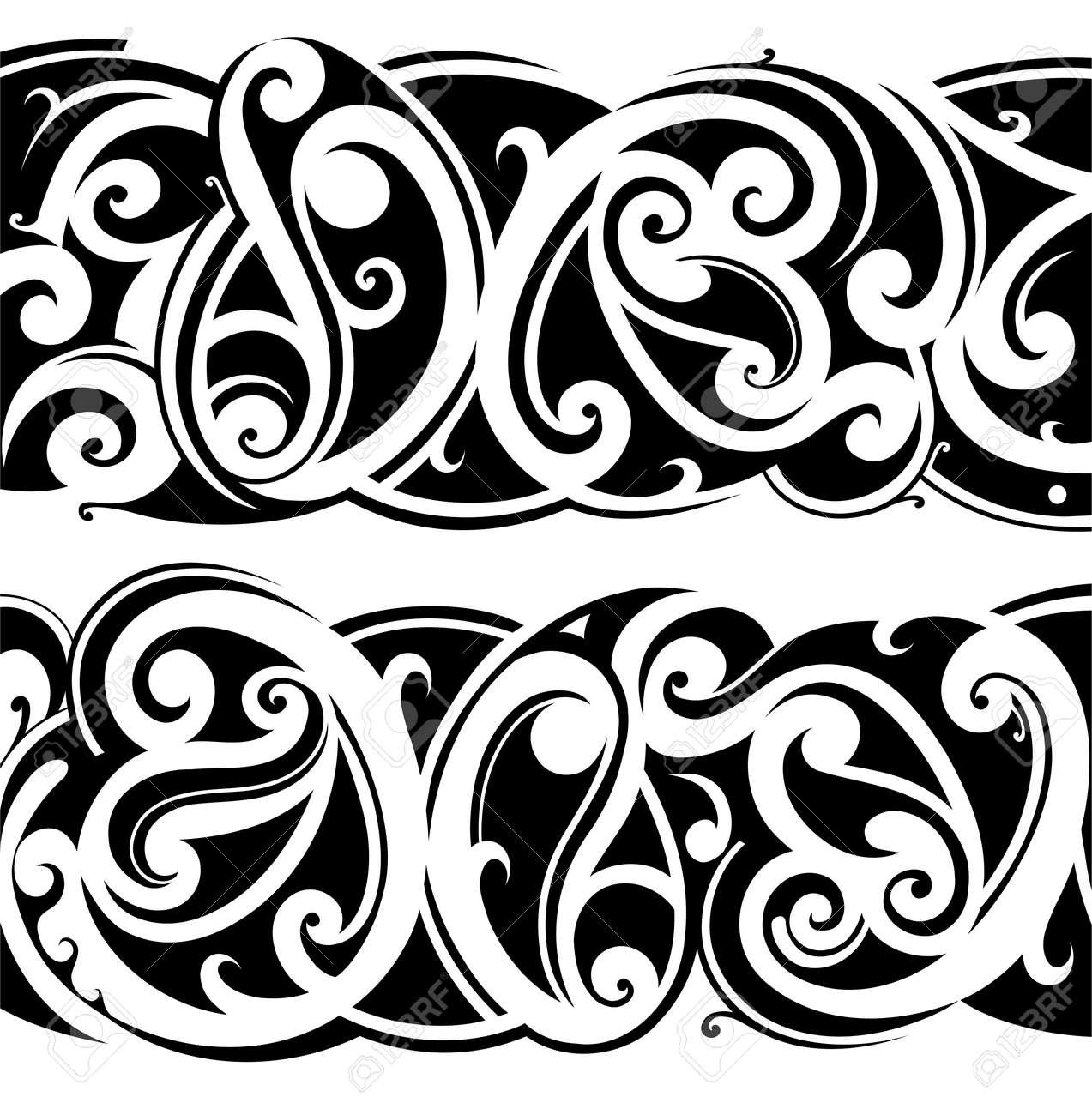 Maori ethnic tattoo fusion with celtic style - 54539984