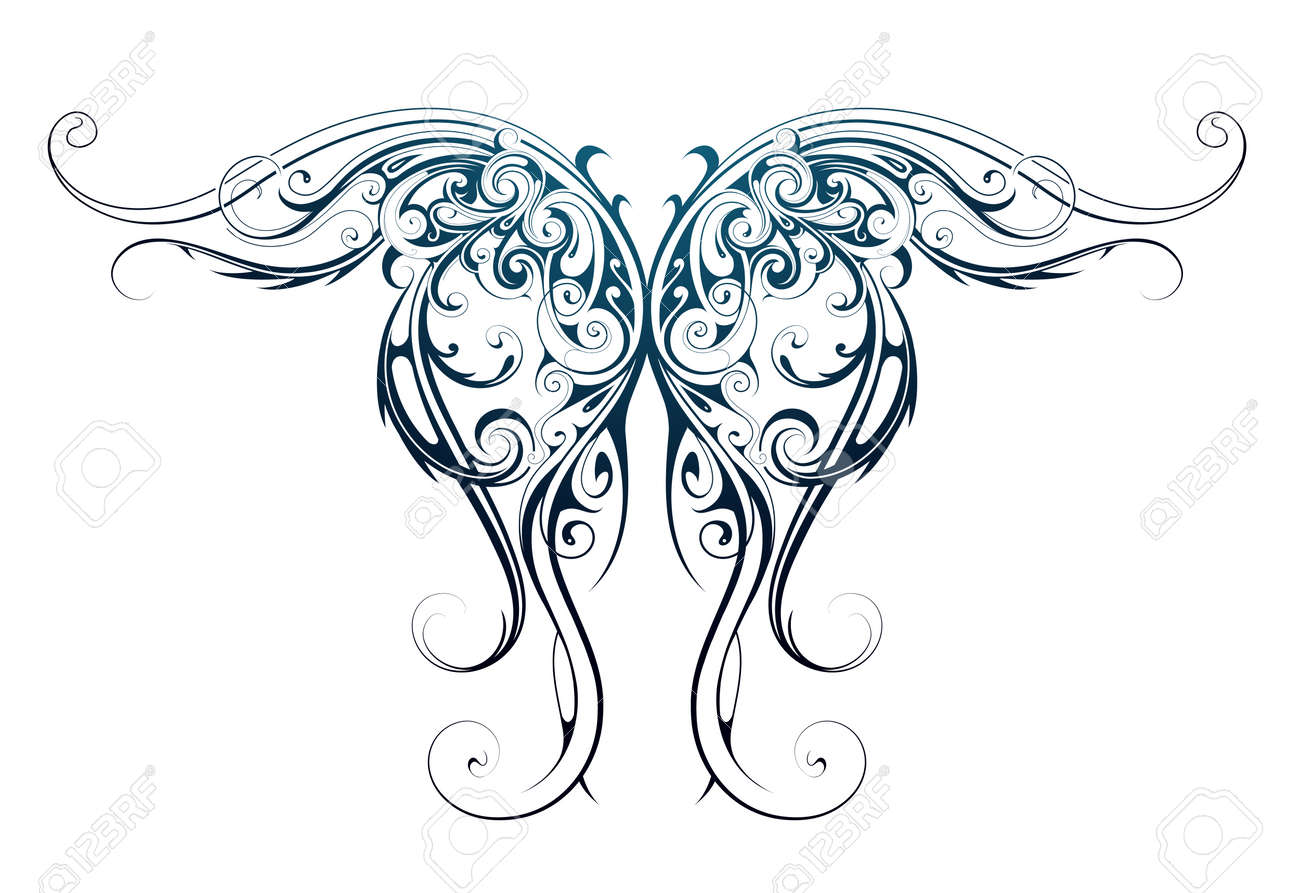 Gothic style tattoo as angel wings shape - 56596816
