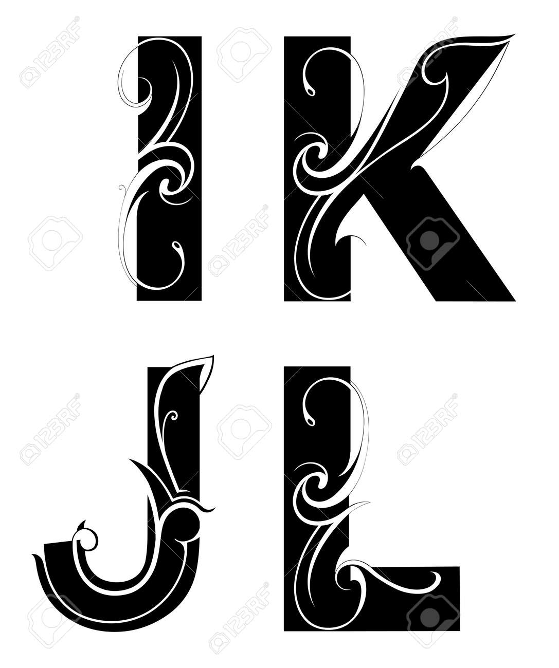 Font Type I J K And L Letters Stock Vector