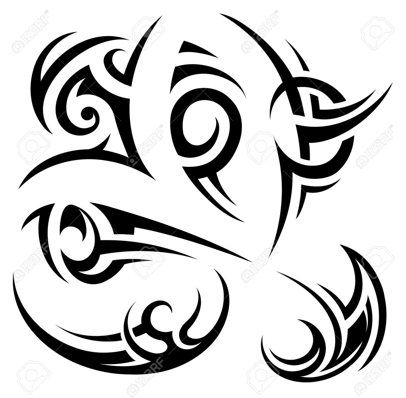 Set of tribal art tattoo shapes in Gothic style - 63420745