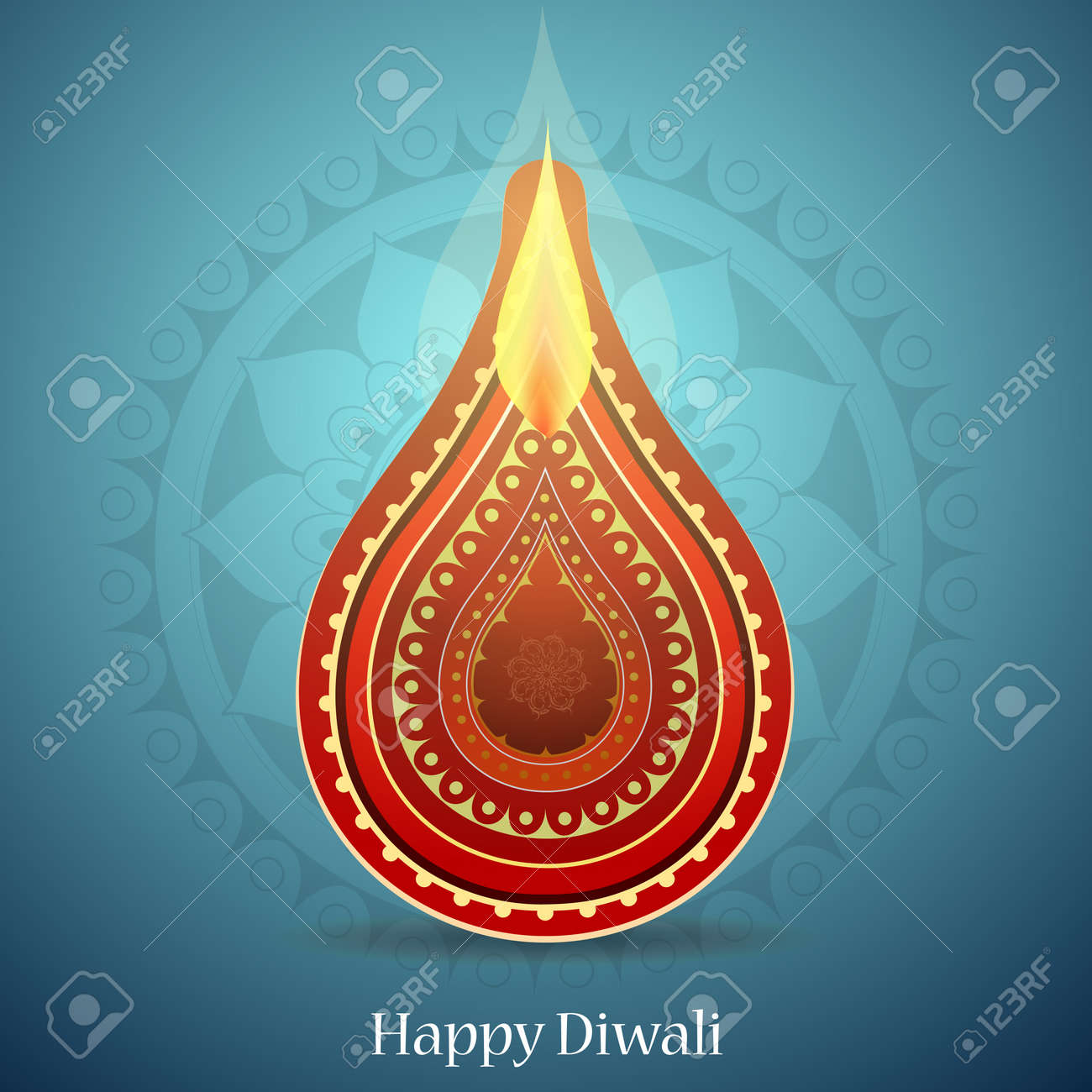 Indian Festival Diwali Greeting Card Design With Ethnic Ornament