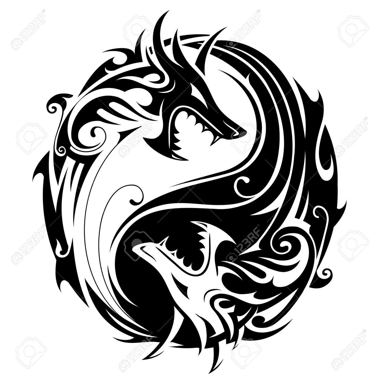 Vector , Yin Yang tattoo symbol shaped as two fighting dragons