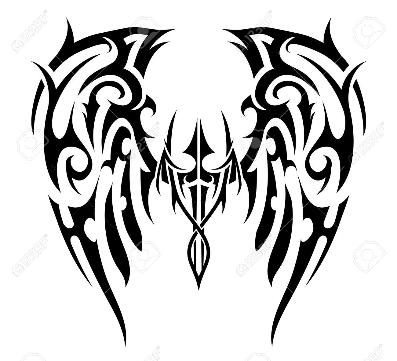 82332a073e2ec Wings Tattoo In Tribal Art Style. Angel Wings Royalty Free Cliparts ...