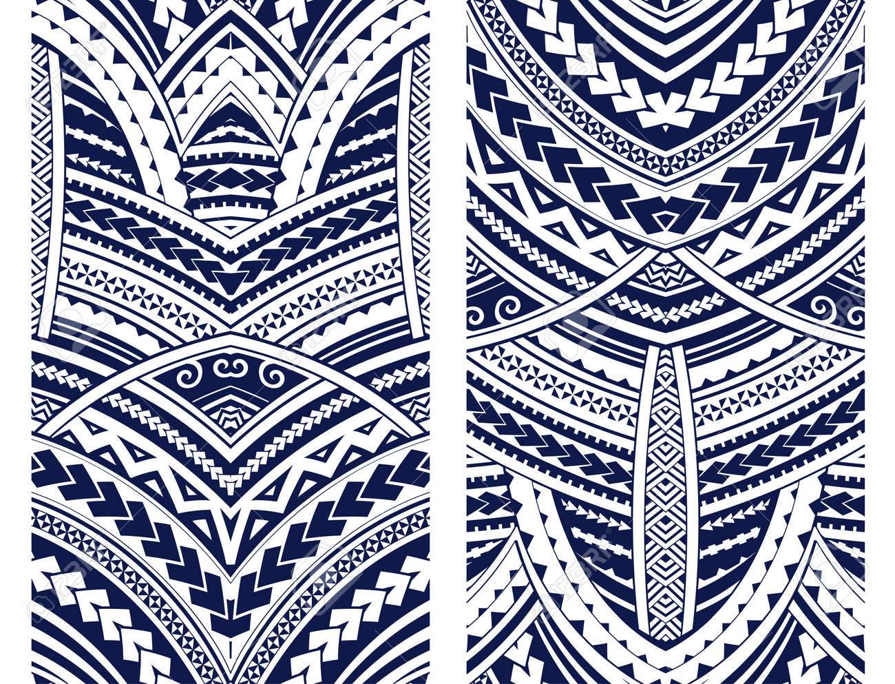 Set of Maori style ornaments. Ethnic themes can be used as body sleeve tattoo or ethnic backdrop. - 84146591