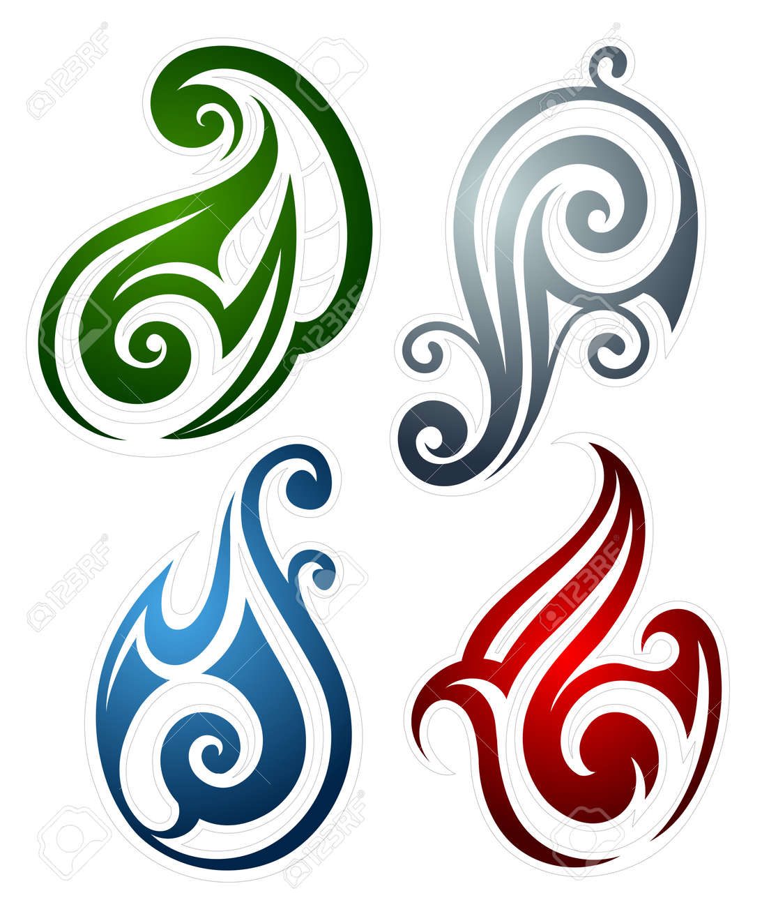 Set Of Main Elements As Tattoo Emblems Earth Wind Fire And