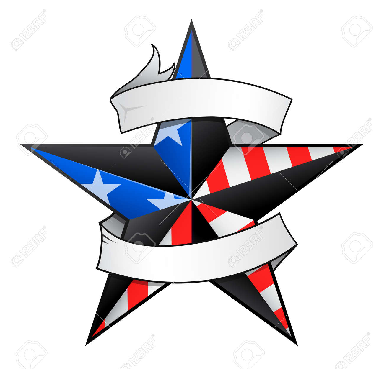 Star tattoo with USA flag elements and scroll for your text to