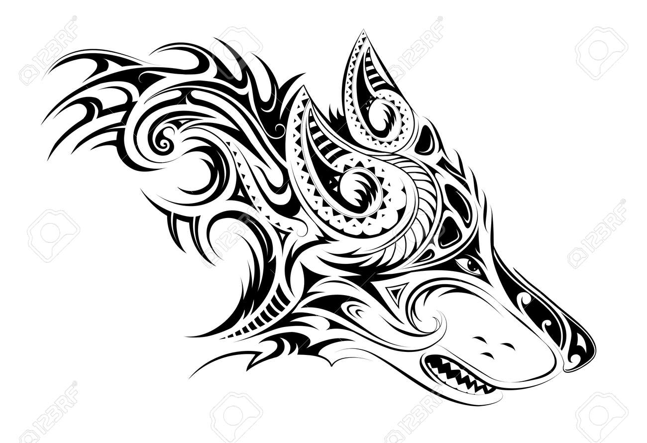 Tribal Style Wolf Head Tattoo Royalty Free Cliparts Vectors And