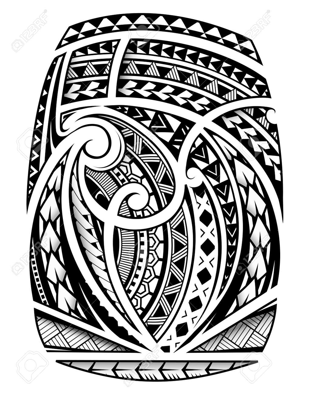 Maori ornament sleeve tattoo including ancient indigenous polynesian style - 122294292