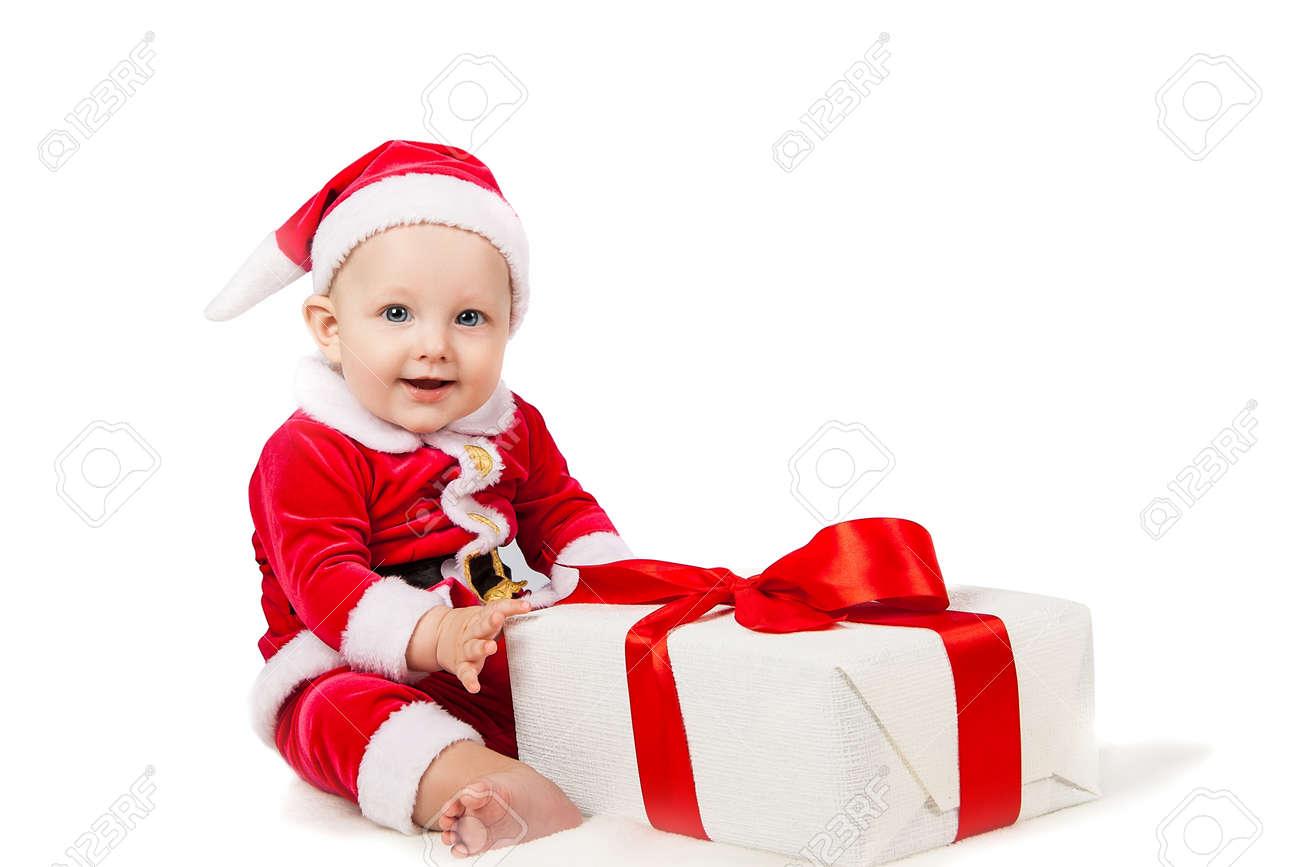 Freudige Kleines Baby Als Weihnachtsmann Mit Einem Großen ...