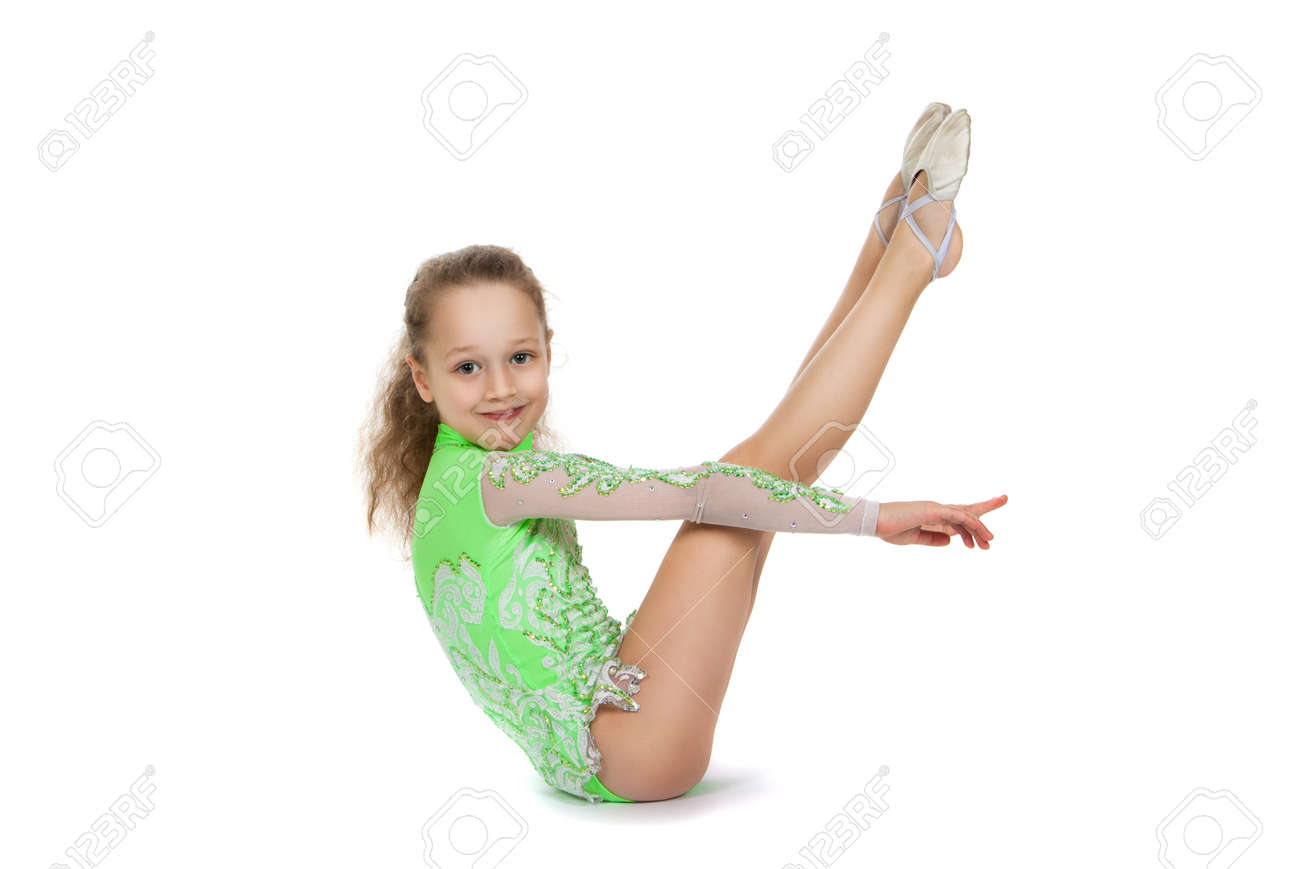 29ca50a10 Gymnast Cute Little Girl Sitting On The Floor. The Child In The ...