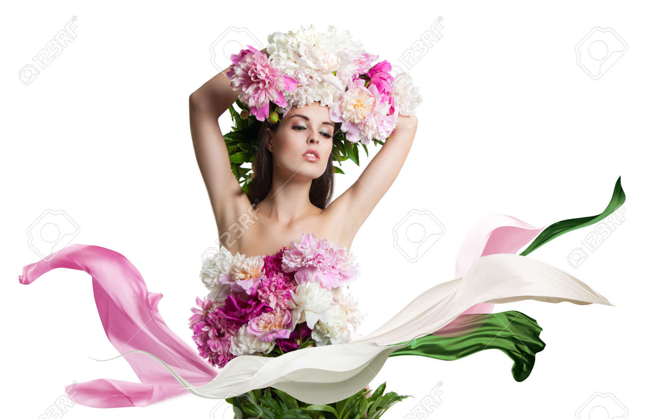 Young beautiful woman with flowers peonies beautiful flowers young beautiful woman with flowers peonies beautiful flowers and easy cloth flying portrait on dhlflorist Gallery