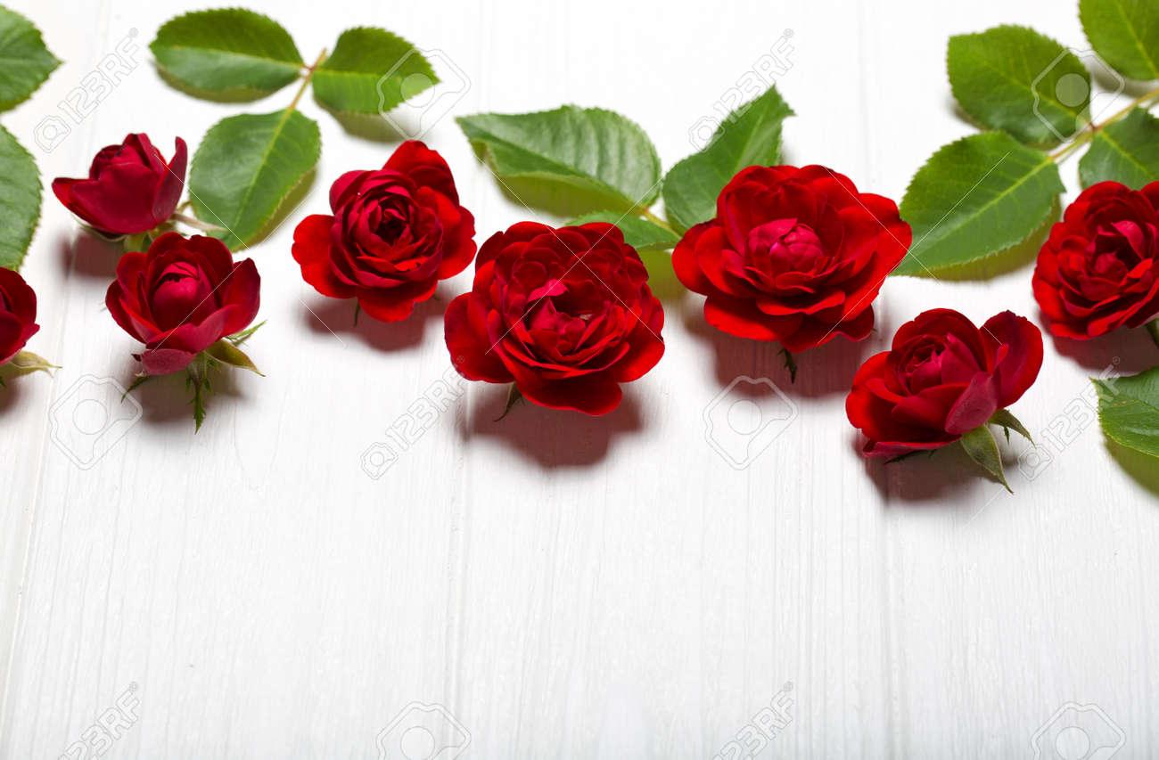 Rosas Rojas Hermosas Flores En Una Mesa De Blanco Deoevian Espacio