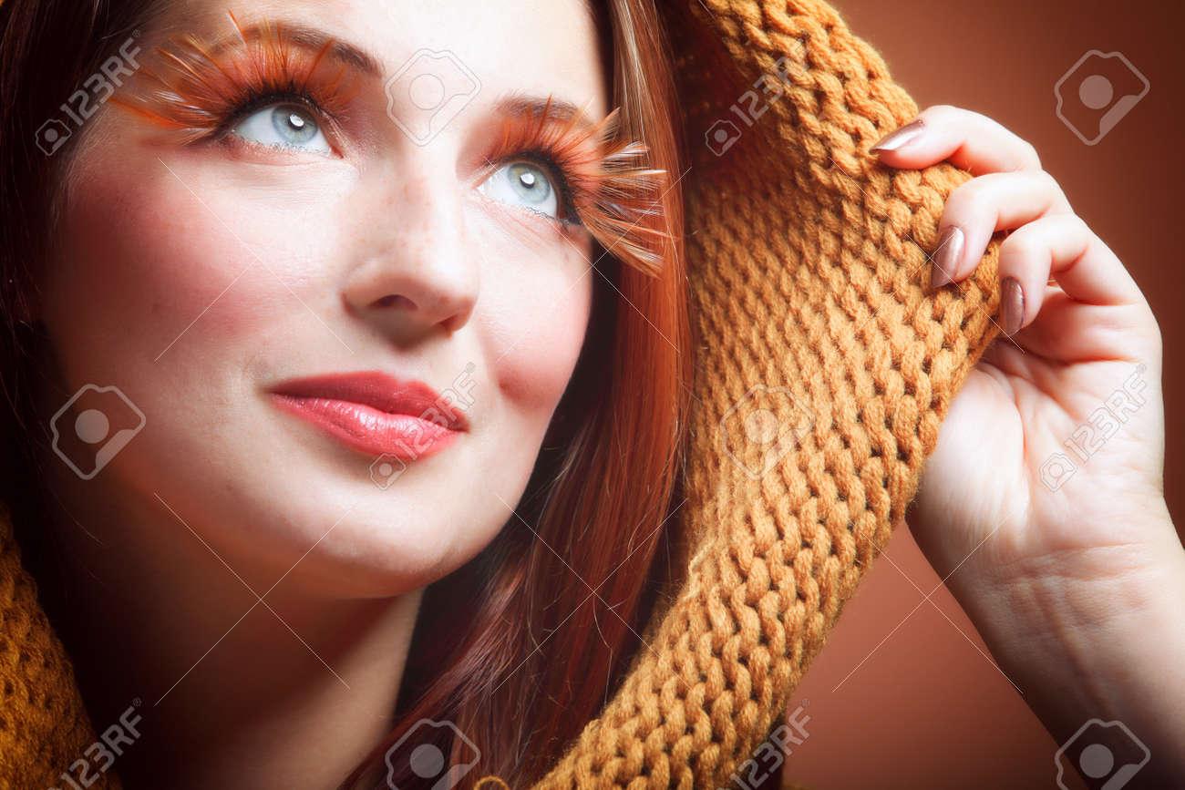 Autumn woman in fashion female, fresh girl glamour eye-lashes charming sweet radiant joyful smile Stock Photo - 15425097
