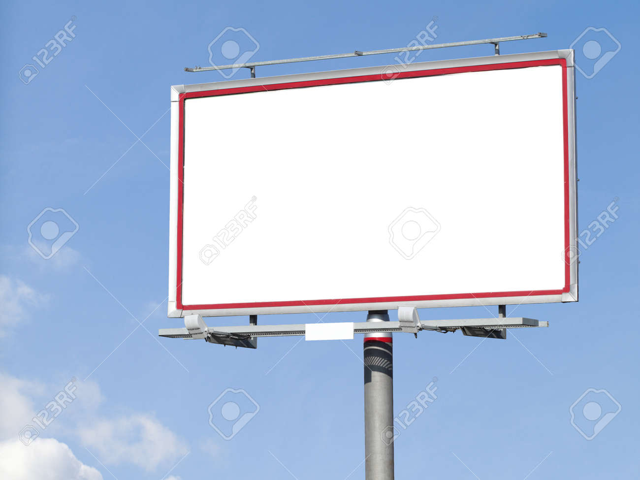 Blank White Billboard On Blue Sky For Your Advertisement Background Stock Photo