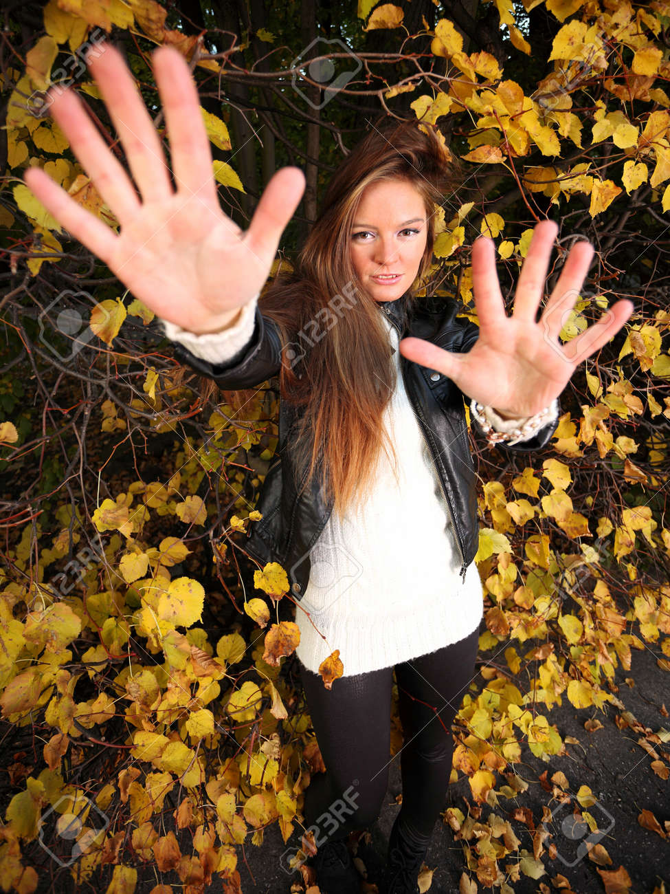 Young Woman Stand Autumn Leaves Fall Yellow Green Girl Garden ...