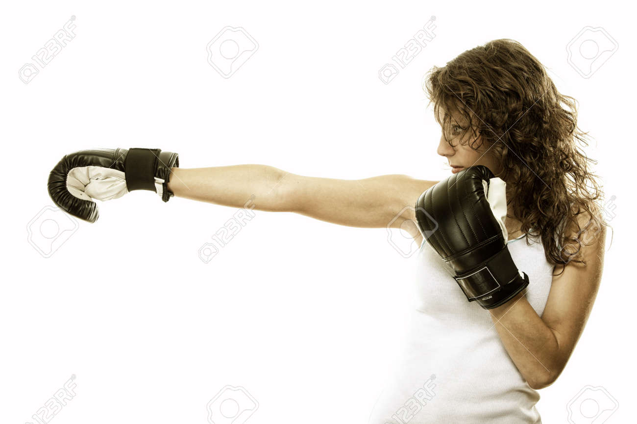 Boxer fit woman boxing - isolated over white background Stock Photo - 17846417