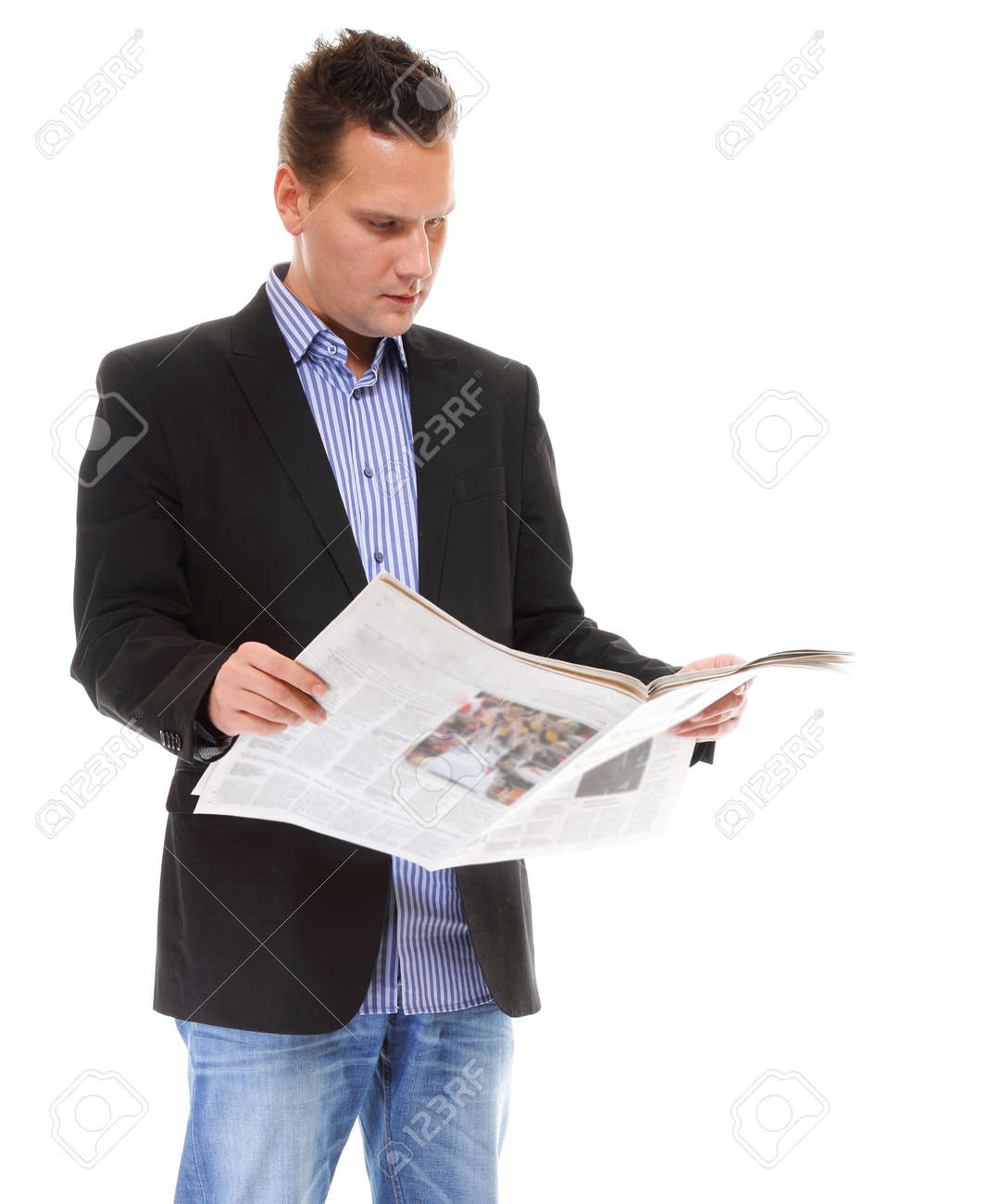 Businessman reading a newspaper isolated Stock Photo - 18162016
