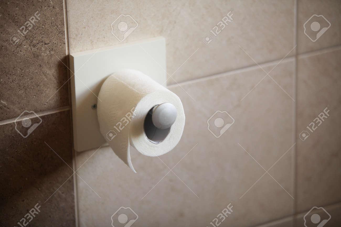 toilet paper roll in bathroom Stock Photo - 18166507