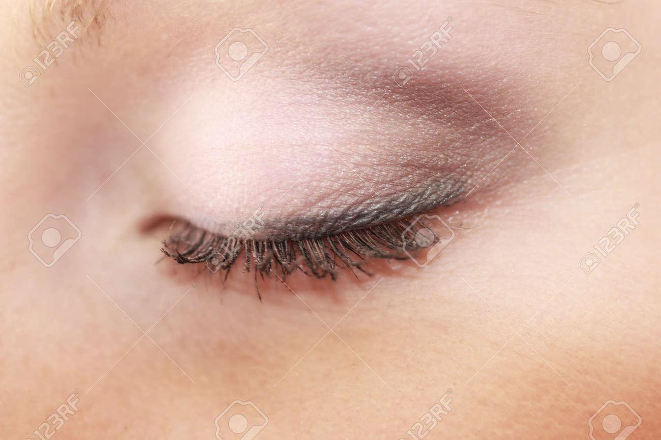 Closeup Part Of Face Female Eye Woman Applying Makeup On Eyes