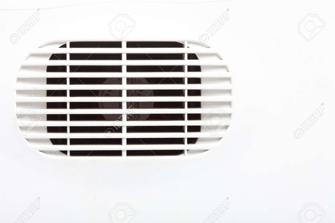 plastic air vent in white wall ventilation grille stock photo