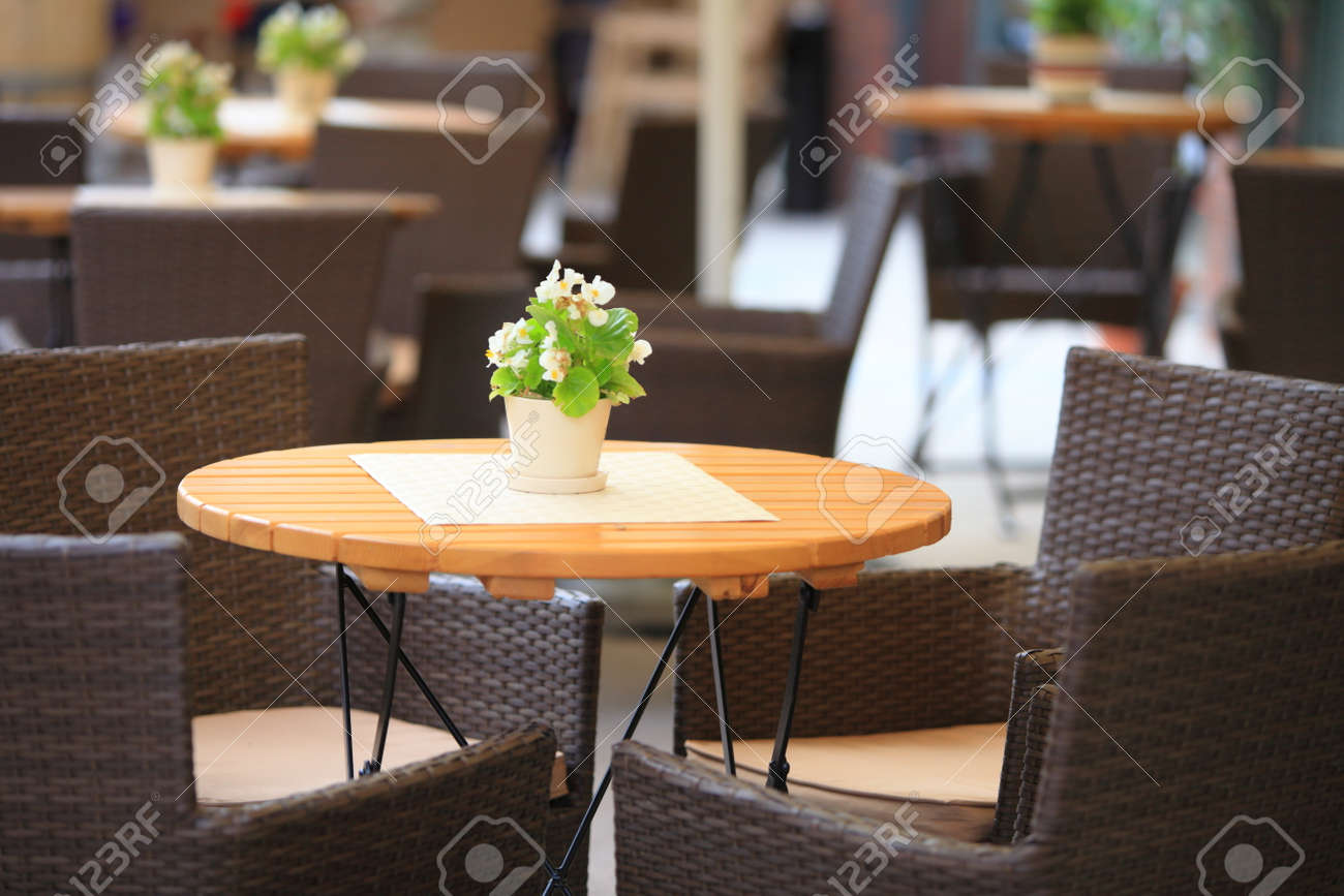Outdoor restaurant open air cafe chairs with table stock photo 22635998