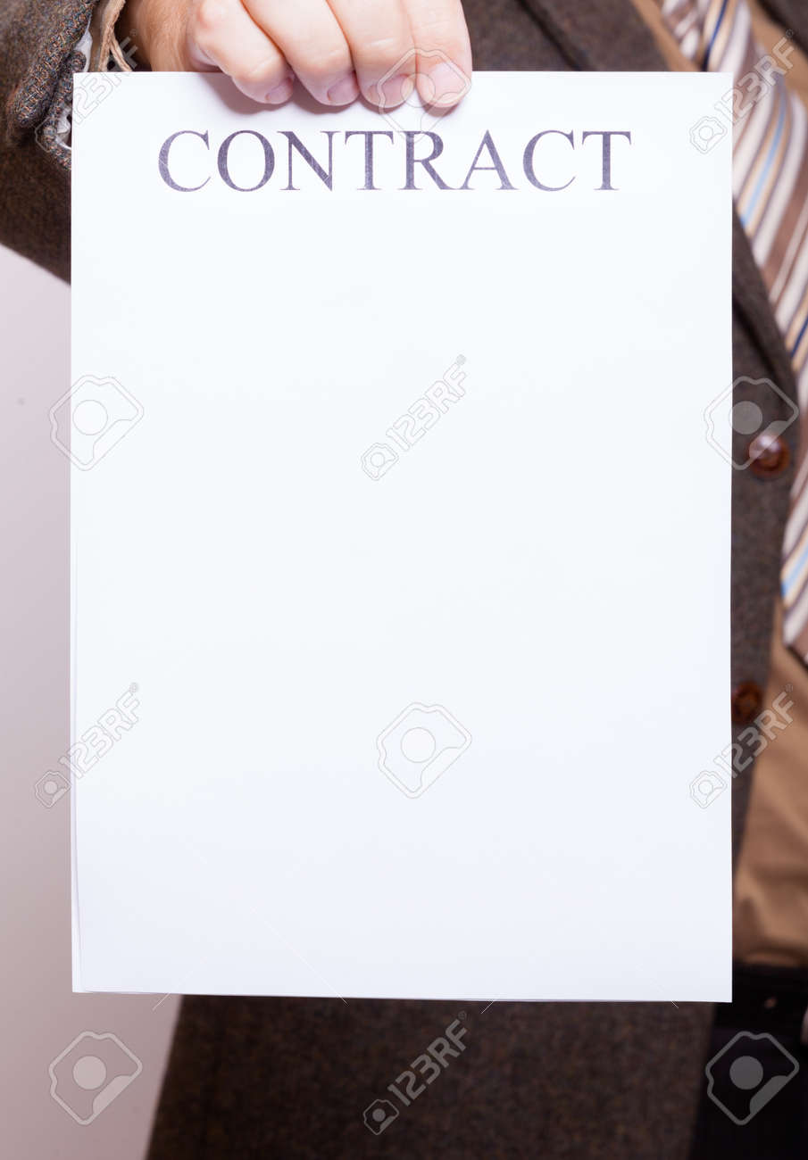 Business Concept Signing Contract Businessman Holding Blank – Blank Contract