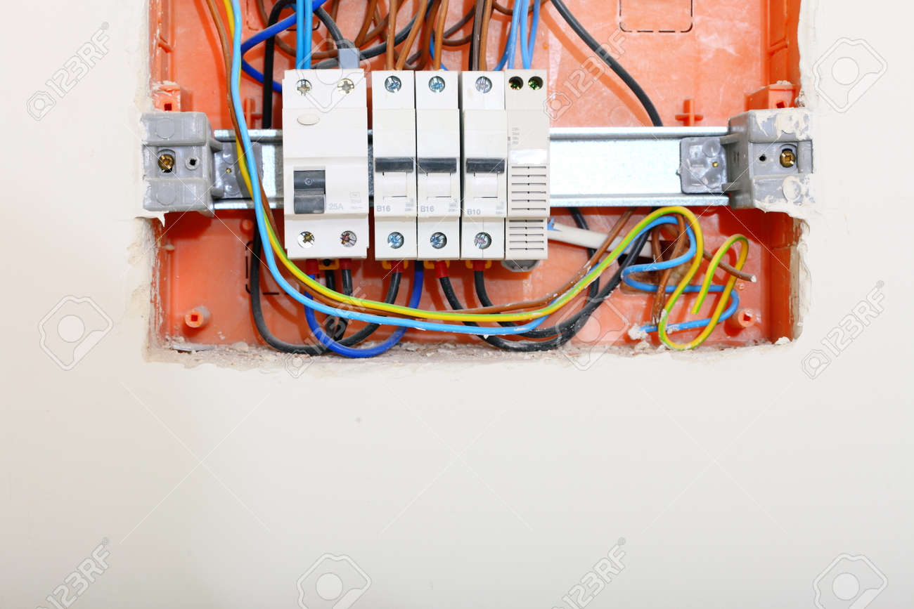 Electrical Installation Close Up Panel Electricity Fuse Electric Boxes Distribution Box With Wires Fuses And Contactors Stock
