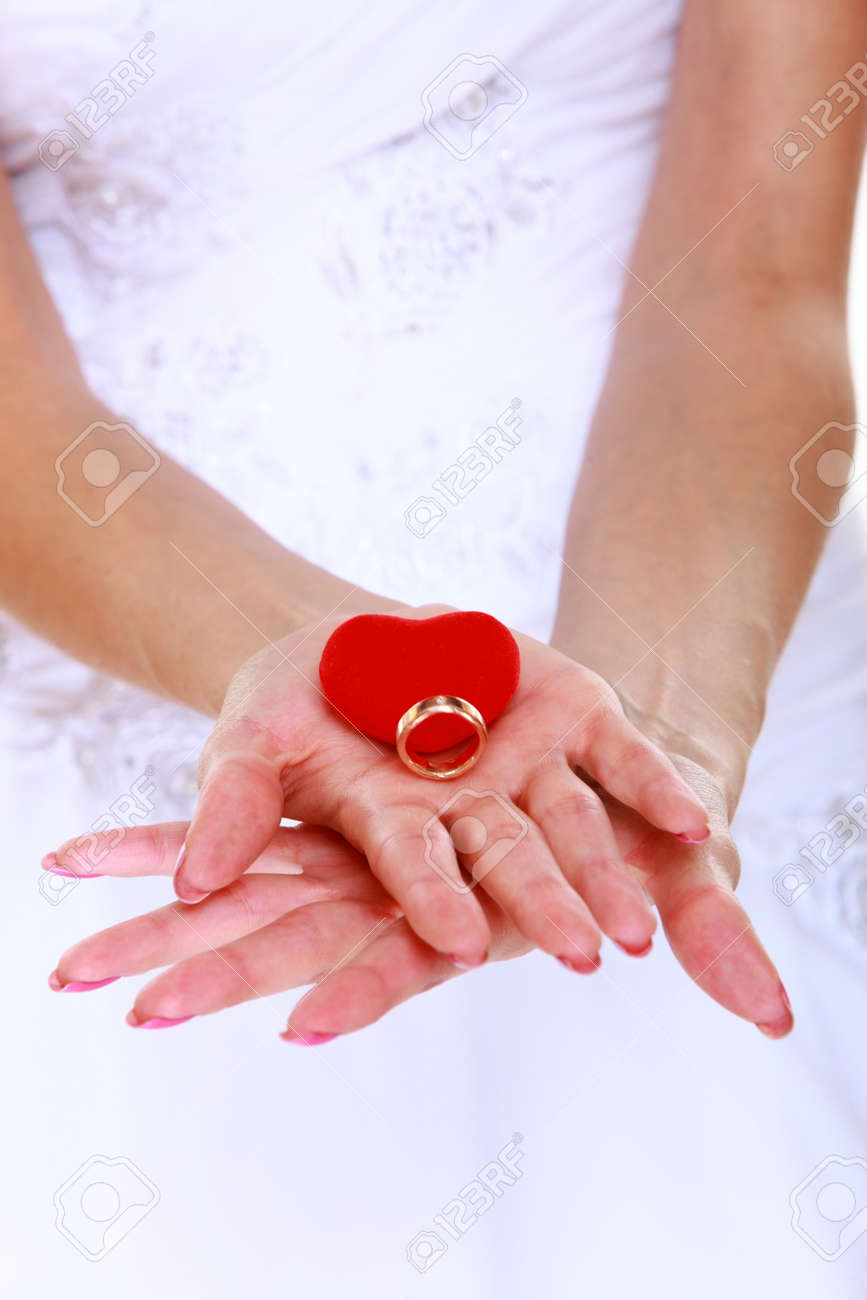 Female Hands Of Bride In White Dress With Engagement Or Wedding ...