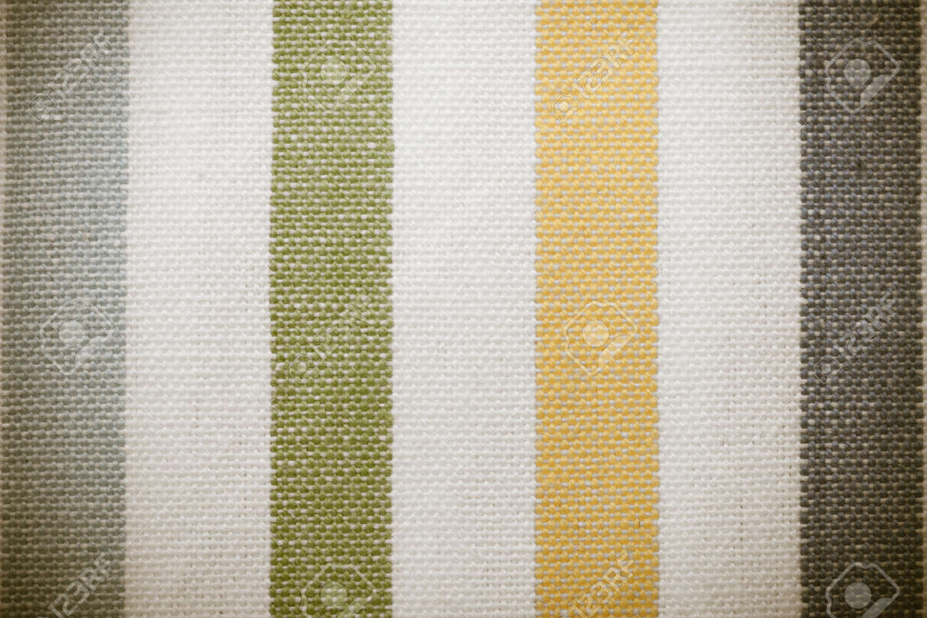 Closeup Of Colorful Green Yellow Grey Gray White Striped Fabric