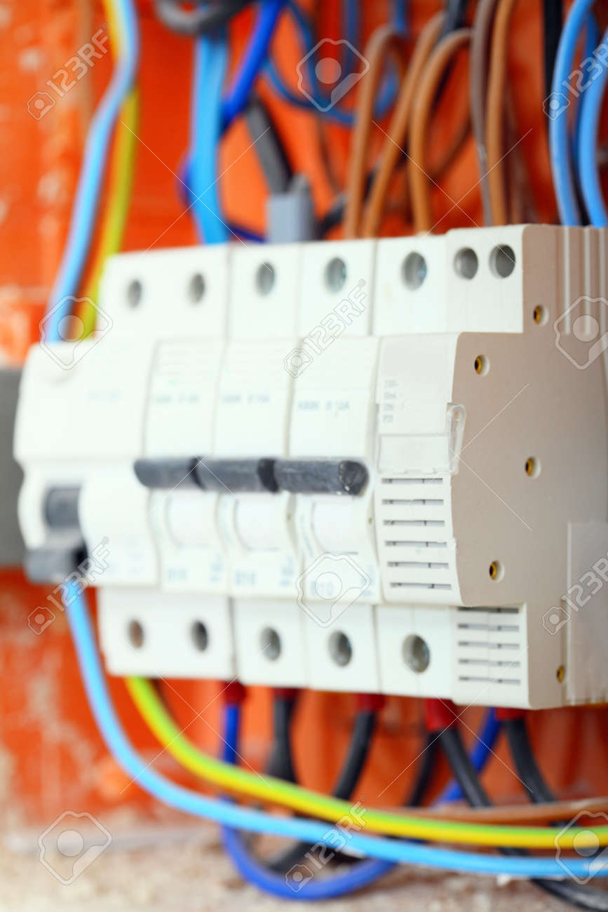 Electrical Installation Close Up Panel Electricity Electical Box Fuses Distribution With Wires And Contactors Stock Photo