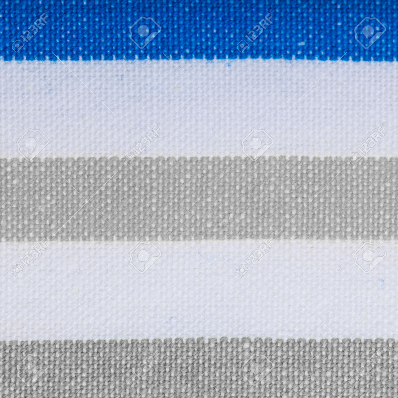 Closeup Of Grey Gray Blue White Striped Fabric Textile As Background