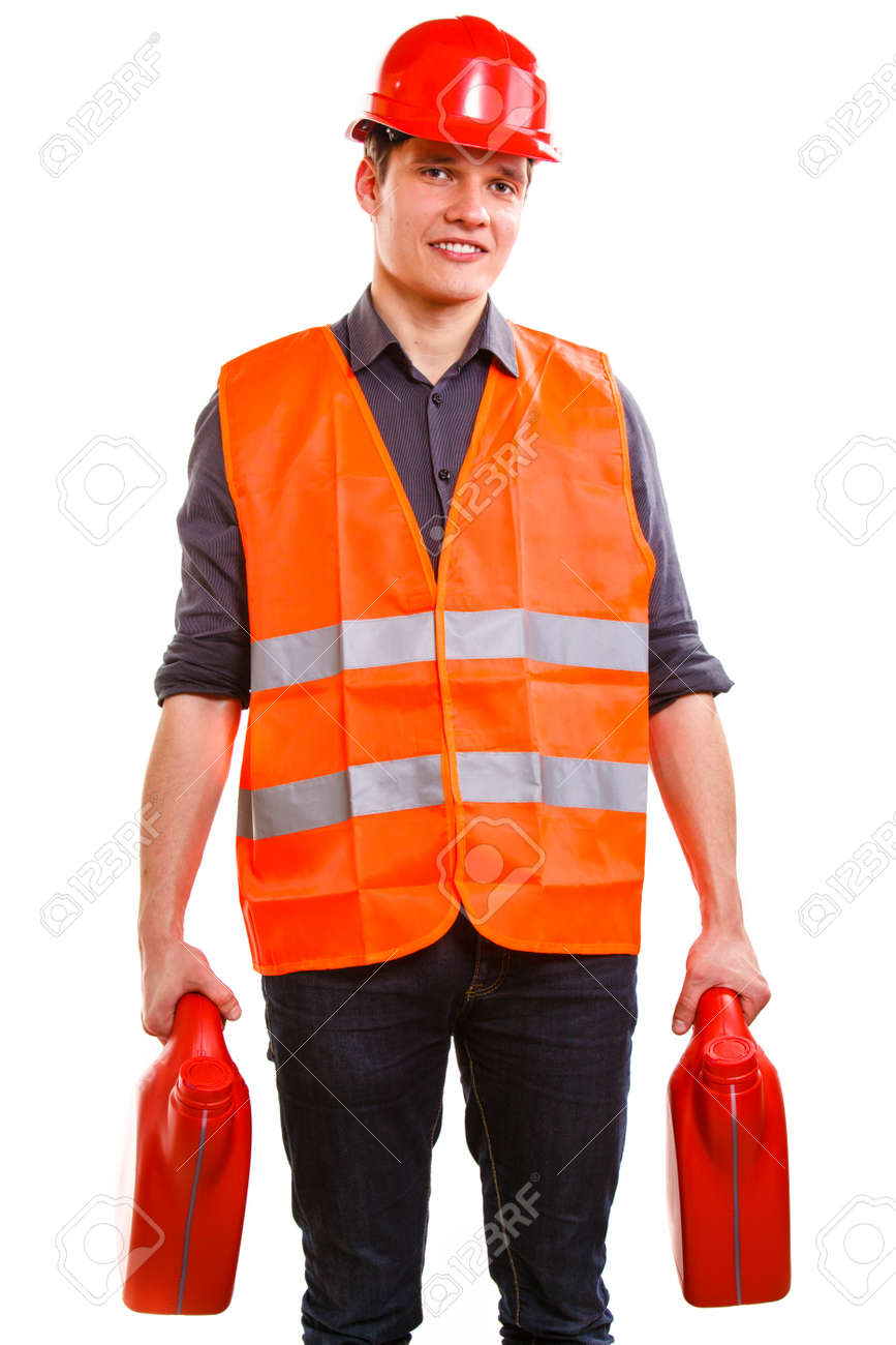 Young man construction worker in orange safety vest and red hard hat holding plastic canisters isolated on white Stock Photo - 26714460