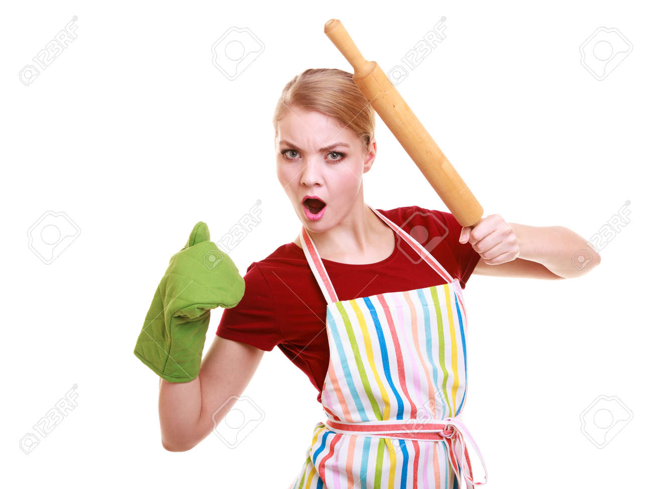 White apron green thumb - Funny Crazy Emotional Housewife Or Baker Chef Wearing Kitchen Apron Green Oven Mitten Holds Baking Rolling