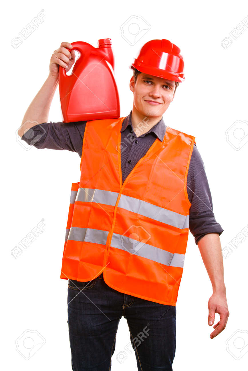 Young man construction worker in orange safety vest and red hard hat holding plastic canisters isolated on white  Industrial power and energy  Studio shot Stock Photo - 27036638