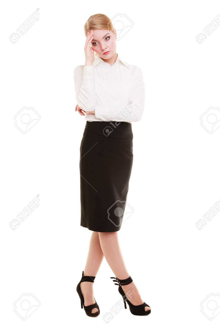 Full Length Of Pensive Thoughtful Young Woman Overworked Businesswoman