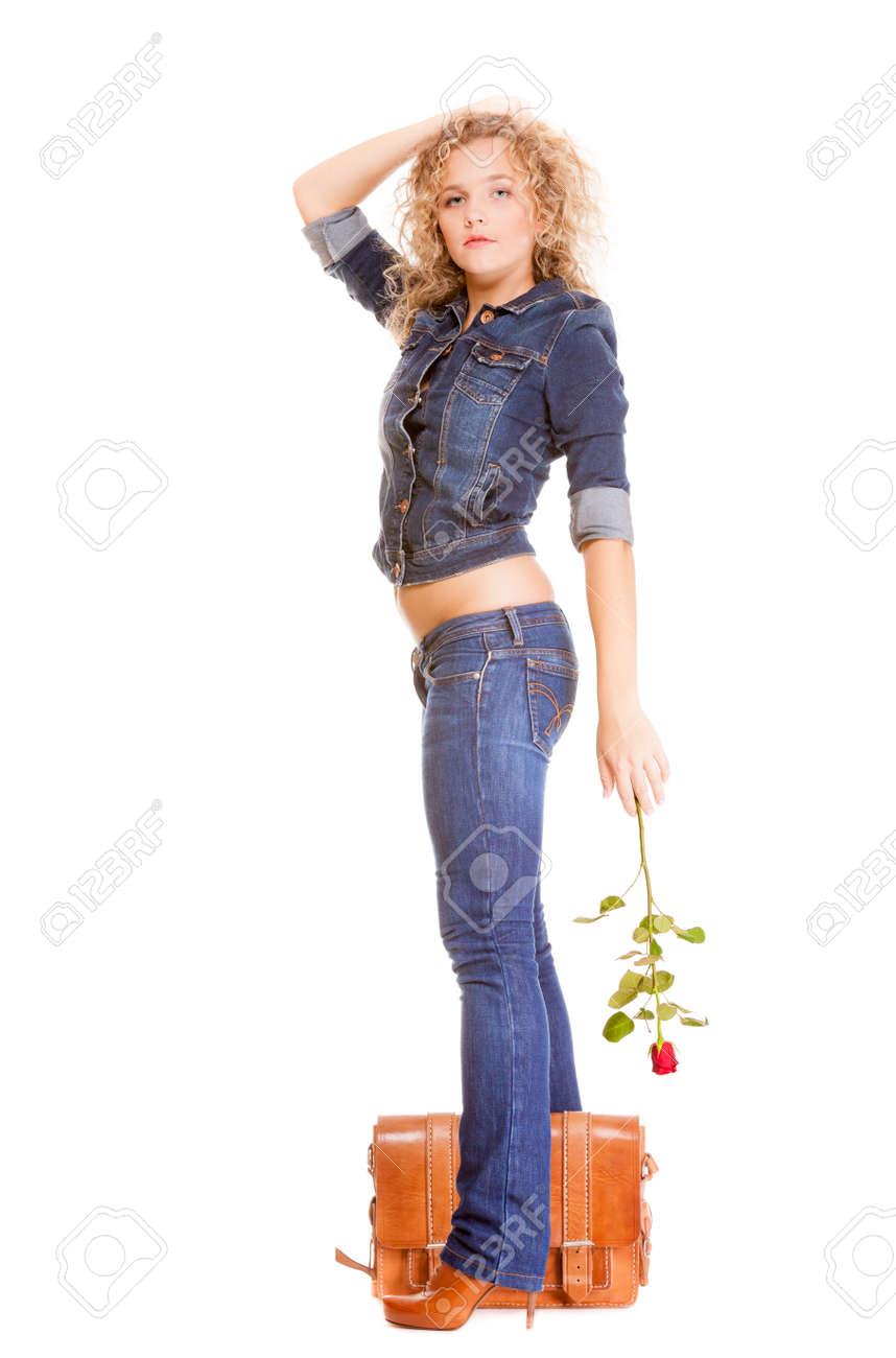 Denim Fashion. Full Length College University Student Girl With ...