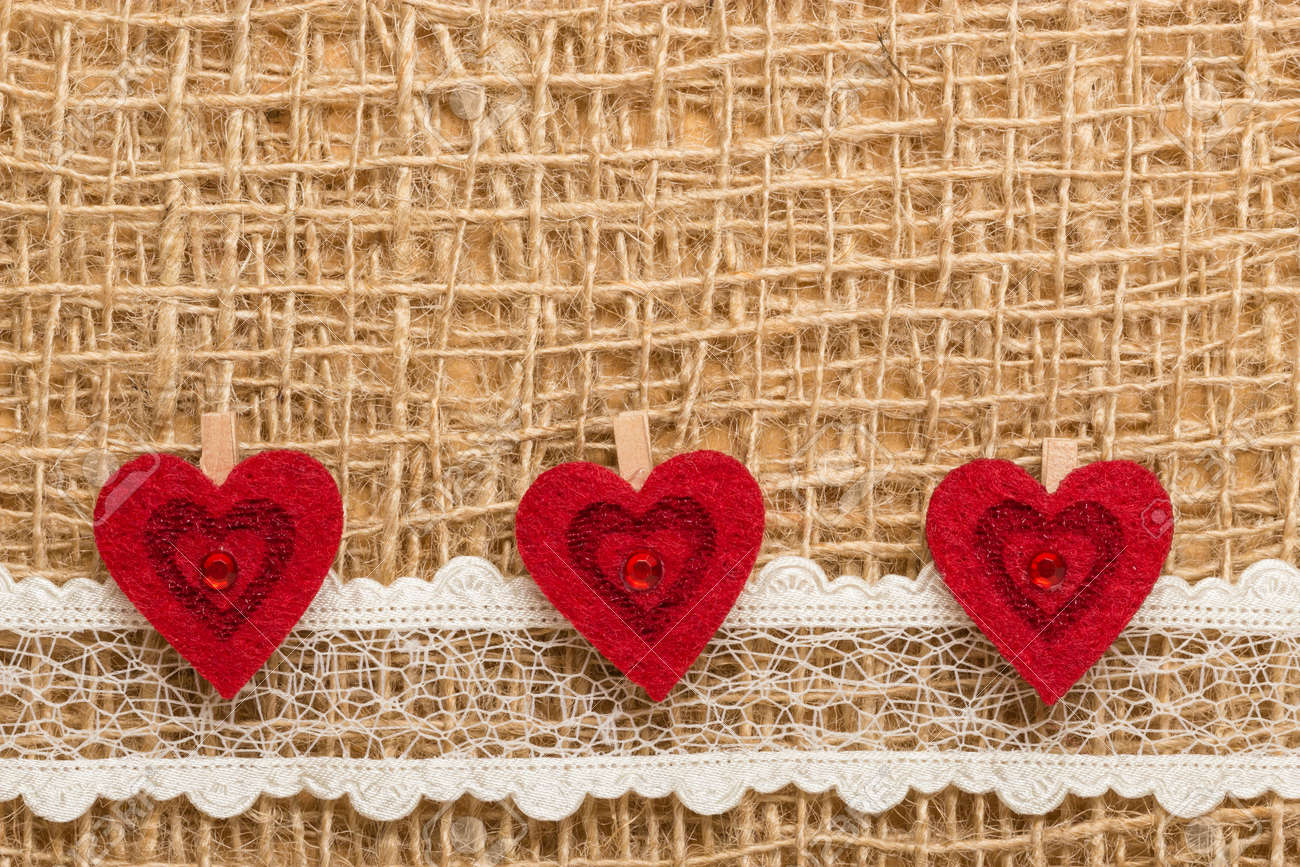 Valentines Day Or Wedding Concept Red Decorative Hearts Lace