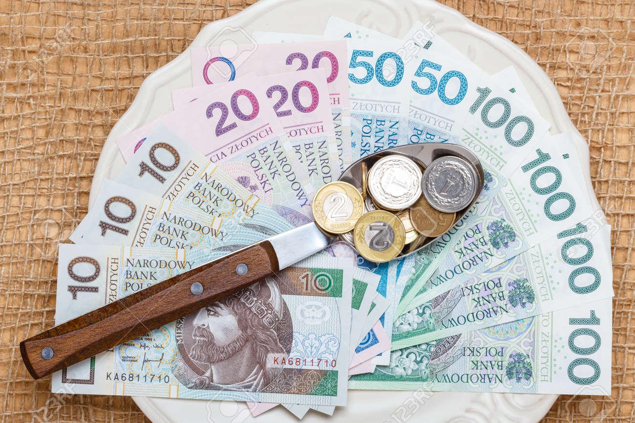 Lebenshaltungskosten, Der Preis Essen Budget Konzept. Polnisches ...