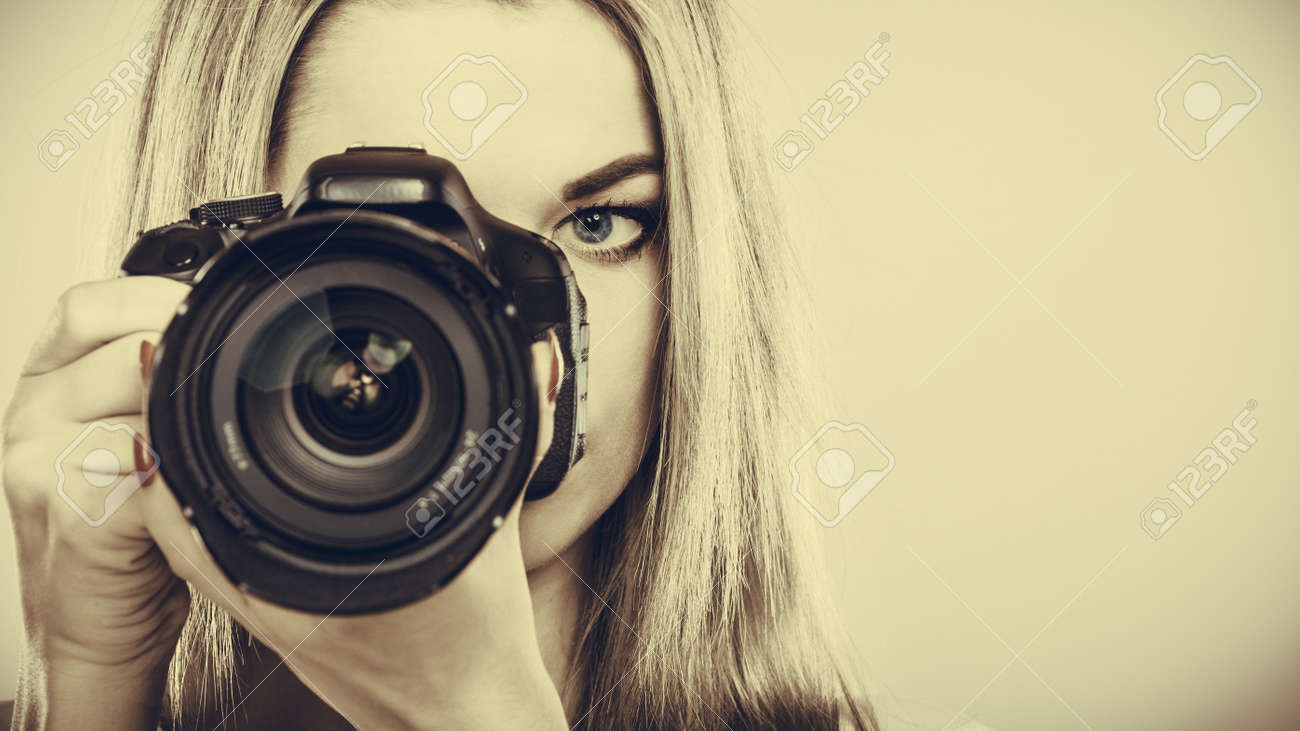 grapher Girl Shooting Attractive Blonde Woman Taking