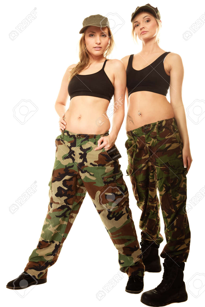 Full length two women in military clothes army girls isolated on white  Stock Photo - 38078850 a8f25ee6be